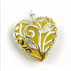 Sterling Silver Heart Brocade Pendant Yellow Stone